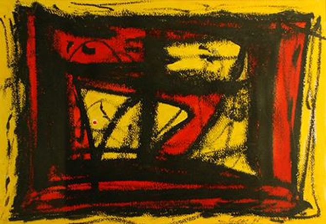 William Gear RBSA, 'Caged Yellow', 1996, Acrylic and Ink