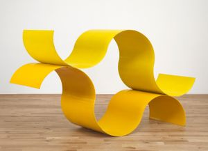 David Annesley, 'Orinoco', 1965, steel, painted yellow, 56 x 96 x 26 in / 142 x 243.8 x 66 cm (Photo credit: © Tate, London 2017)