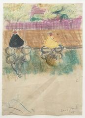 Cyclists, Battersea 1947 - pencil, ink and crayon on paper