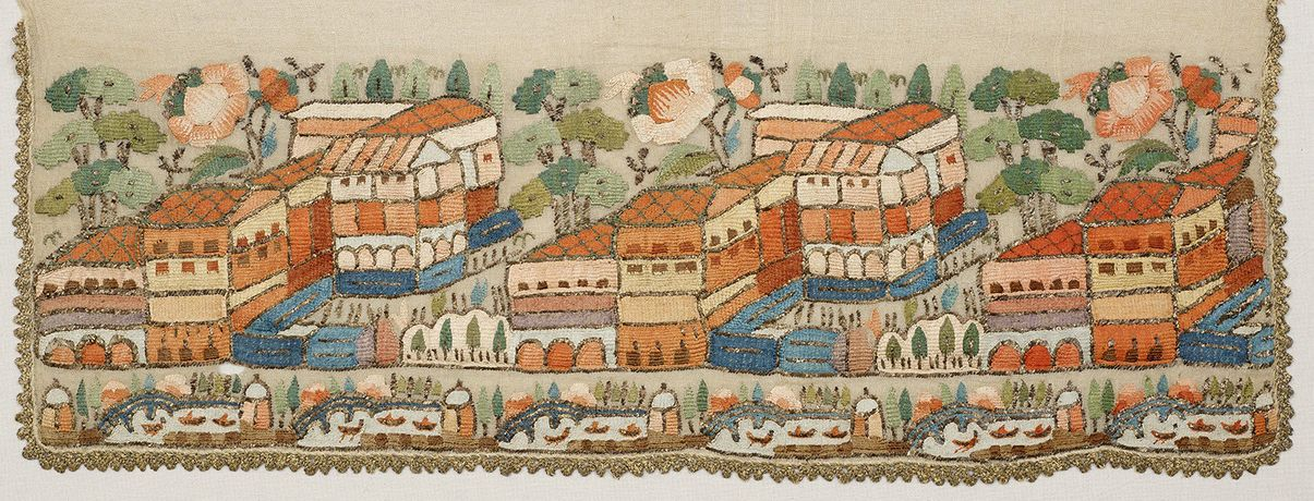 Turkish embroidered napkin, 1750 - 1850. The Whitworth, The University of Manchester