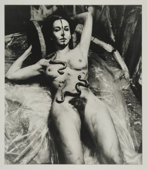 Carolee Schneemann, Eye Body (From 36 Transformative Actions for Camera), 1963/1985, Black and white photograph, 20 x 16 inches