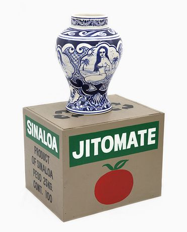 Eduardo Sarabia, Untitled (Jitomate), 2017, hand painted ceramic vase, hand painted wood box ceramic: 30 x 20 x 20 cm 11 3/4 x 7 7/8 x 7 7/8 inches box: 28 x 36 x 28 cm 11 1/8 x 14 1/8 x 11 1/8 inches © Eduardo Sarabia, courtesy joségarcía ,mx, Mexico City and Maureen Paley, London