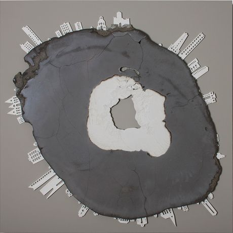 Petr Weigl, My Beautiful Broken Planet, Concrete, marble dust, & bone china 100x100cm