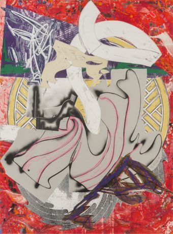 Frank Stella  Ahab, 1985–88, from the series The Waves  screen print, lithograph, linocut with hand-coloring, marbeling, collage on T. H. Saunders wove paper  73 5/8 x 54 5/8 inches  © Frank Stella/Artists Rights Society (ARS), New York