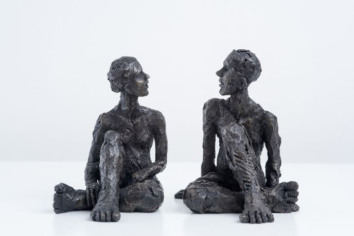 Carol Peace 'Seated Female Figure II' and 'Seated Male Figure II' Iron resin H14cm each £240 each