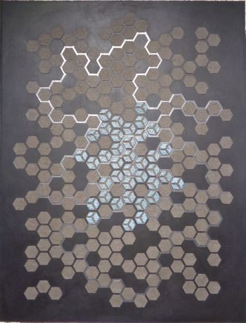 Eleanor White, Emu Ash Honeycomb Black Paper, 2018, wood ash, emu eggshell, graphite on painted paper, 30 x 23 inches
