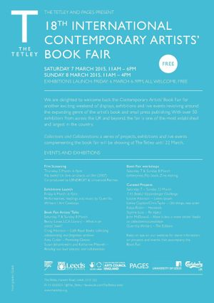 CONTEMPORARY ARTISTS' BOOK FAIR SAT 7 MARCH - SUN 8 MARCH 2015