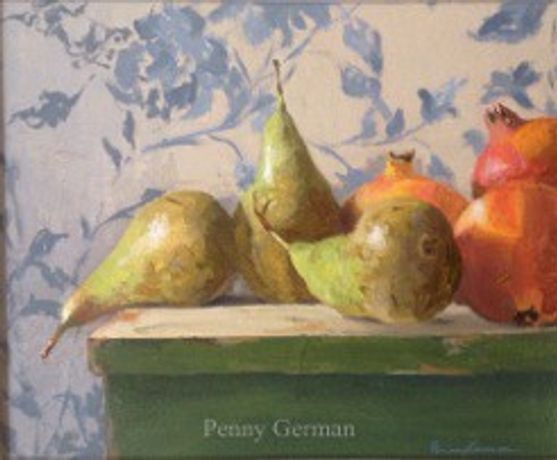 Pears and Pomegranets Oil on panel by Penny German