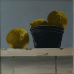 Lemons on a Shelf oil on panel by Penny German