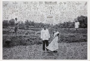 Gauri Gill and Rajesh Vangad, Women and Men, 2019. From the Fields of Sight series, 2013-ongoing. Acrylic on archival pigment print. 125 x 175 x 5 cm (framed), 106.7 x 157.5 cm (unframed)