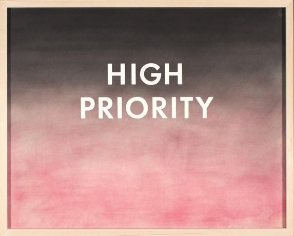 "Edward Ruscha American, b. 1937 High Priority, 2001 Pastel on paper 23 ⅛"" x 29 ⅛"" 1977.1.17 Museum Purchase Funded by the Corpus Christi Art Foundation, Permanent Collection of the Art Museum of South Texas"