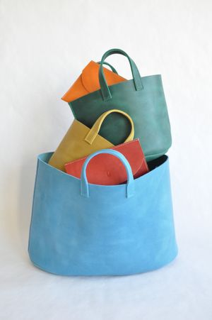 Market tote & Tablet purse, leather, Maiko Dawson