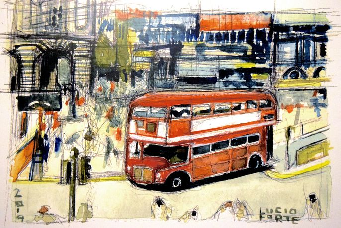 Lucio Forte, Routemaster, watercolour, 2019