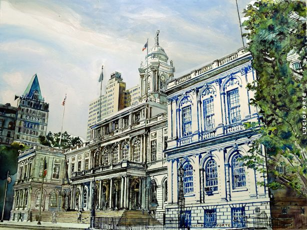 Lucio Forte, 2019, NY City Hall, mixed media on canvas, 60 x 80 cm