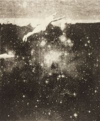 Sarah Garvey, Night swimming. Solarplate etching, monoprint and sanwa tissue. Copyright of the artist.