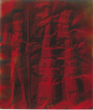 Warriors (1959), oil on canvassed paper, 77 x 66 cm. Courtesy of Archivio Corrado Cagli and Brun Fine Art.