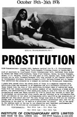 Cosey Fanni Tutti, Prostitution promotional poster for Institute of Contemporary Arts performance and exhibition, 1976. Courtesy the artist and Cabinet, London
