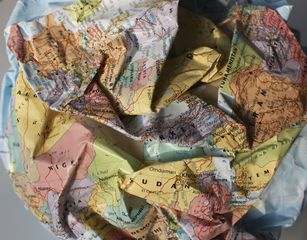 Craig Wood, Mapping series (Crumped Globe), detail, 2015, mixed media