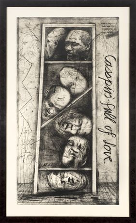 William Kentridge- Casspirs Full of Love (2000) Etching and drypoint. 149cm x 81cm