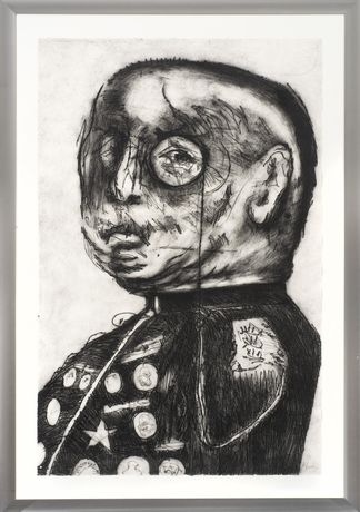 William Kentridge- General (1998) Etching.120 × 80 cm. Edition of 15.