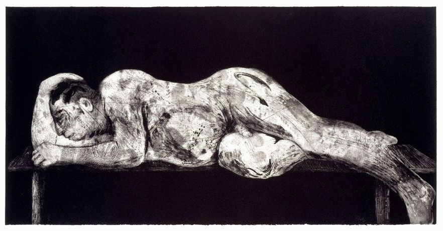William Kentridge- Sleeper (Black), 1997 Etching, Aquatint & Drypoint.  97 × 193 cm. Edition of 20.