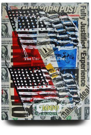 Picture PETER TUNNEY Americana, 2013 Acrylic paint, hand-pulled double silkscreen over collage of mixed media on For Which It Stands Limited Edition book cover  Diptych, 35 x 25.5 cm Edition of 20 Signed and Numbered