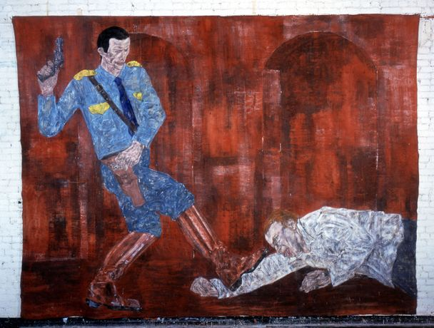 Leon Golub, White Squad V, 1984, acrylic on linen, 120 x 161 in. (304.8 x 408.94 cm)