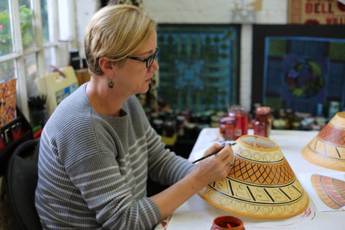 Cressida Bell Lampshade Painting Workshop: Image 1
