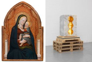 Left: Paolo Schiavo, Madonna and Child Enthroned, c. 1440–45, oil on panel, 41 1/8 × 27 3/16 inches (104.5 × 69 cm). Photo: Giusti Claudio Right: Anish Kapoor, Chamber 3, 2016, alabaster and gold leaf, 37 3/8 × 24 × 22 13/16 inches (95 × 61 × 58 cm) © Anish Kapoor/DACS, London 2018. Photo: Dave Morgan
