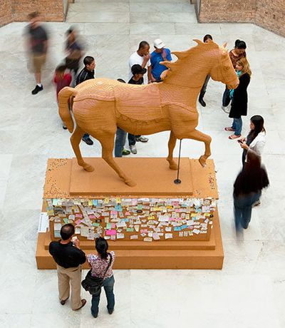 Paul Ramírez Jonas (Honduran American, b. 1965). The Commons, 2011. Cork, pushpins, notes contributed by the public, 153 x 128 x 64 in. (388.6 x 135.1 x 162.6 cm). Courtesy of the artist and Koenig & Clinton Gallery. © Paul Ramírez Jonas. Photo Paul Ramírez Jonas