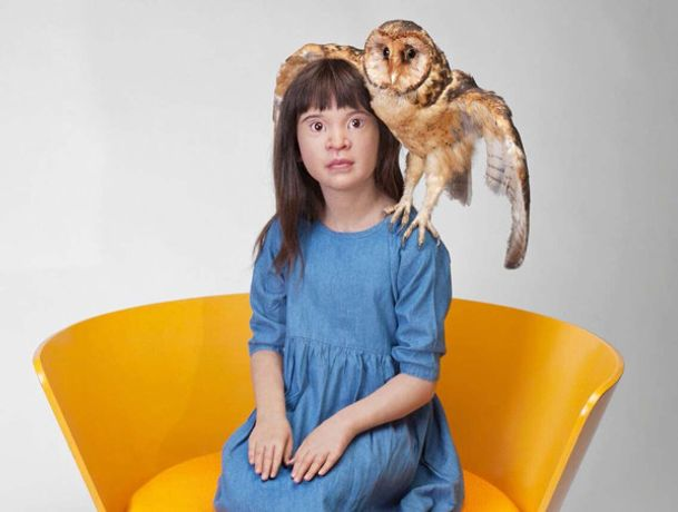 Caption: Patricia Piccinini, Unfurled, 2017, Silicone, fibreglass, human hair, masked owl, found objects, 108x89x80 cm, Courtesy the artist and A3 Arndt Art Agency