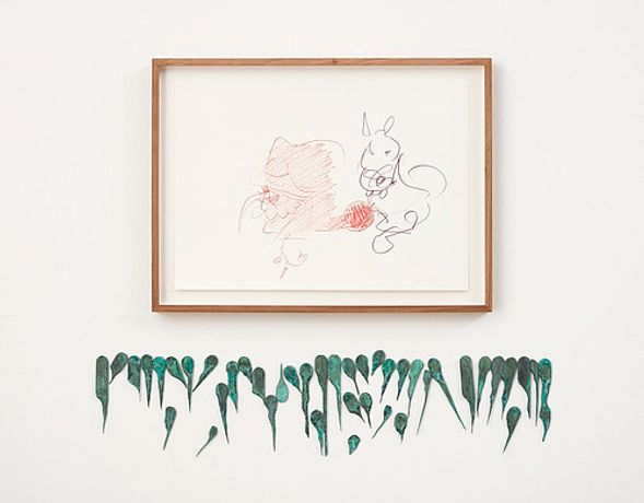 Uri Aran Transaction/Melody, 2016 coloured pencil on paper; bronze framed drawing, 36 x 48 cm bronze, 42 parts: 15 x 72 cm Copyright: Uri Aran Courtesy: Sadie Coles HQ, London