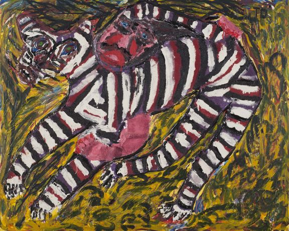 Thornton Dial, Lady Know How to Hold the Jungle Tiger, not dated, Acrylic and mixed media on canvas mounted on board, 47 ¼ x 59 ¼ inches, Gift of Richard Levine, AIA, FIU 2008.10.1