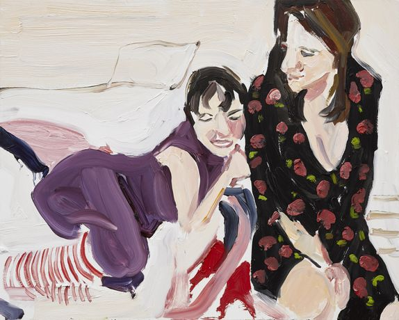 Chantal Joffe, Self-portrait with Esme at bedtime, 2018 ⓒ Chantal Joffe, Courtesy the artist and Victoria Miro, LondonVenice