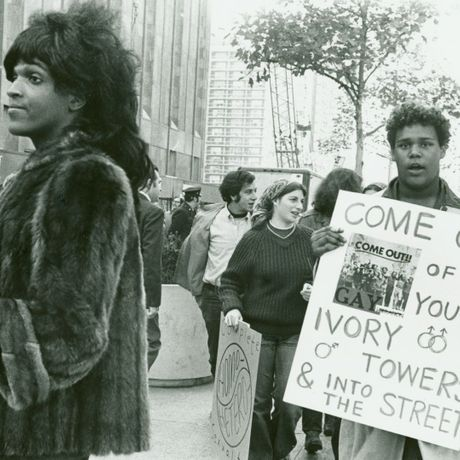 Diana Davies, Untitled (Marsha P. Johnson Hands Out Flyers for Support of Gay Students At N.Y.U.) [detail], C. 1970, Digital print, 11 x 14 inches, Photo by Diana Davies/© The New York Public Library/Art Resource, NY