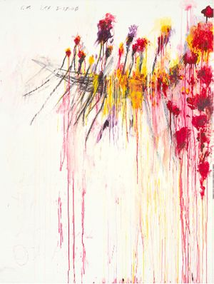 Cy Twombly, Coronation of Sesostris, 2000, acrylic, wax crayon and lead pencil on canvas, 81 1/8 × 61 5/8 inches (206.1 × 156.6 cm)