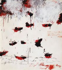 Petals of Fire, 1989 144 x 128 cm acrylic paint, oil stick, pencil, color pencil on paper © Cy Twombly Foundation / Courtesy Cy Twombly Foundation