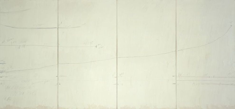 Cy Twombly, Veil of Orpheus, 1968, house paint, crayon, and graphite pencil on primed canvas, 90 × 192 inches (228.6 × 487.7 cm) Private collection © Cy Twombly Foundation