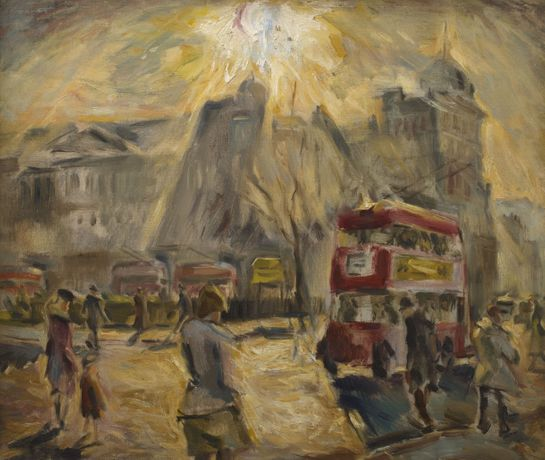 Cyril Mann (1911-1980) Finsbury Square c 1948 Oil on canvas © The Artist courtesy of Piano Nobile