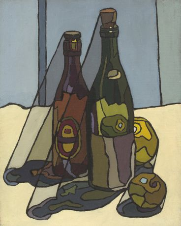 Cyril Mann, Still Life with Bottles, Oil on board, 41.6 x 33.3cm, c.1955