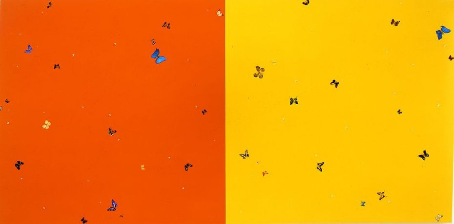 Damien Hirst »Oranges And Lemons« 2008 Varnish, butterflies, synthetic diamonds on canvas [Diptych]