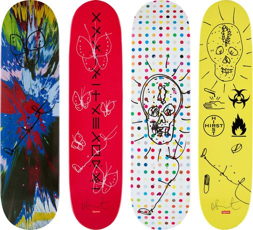 Damien Hirst Supreme Skateboards with unique drawing and signature: Image 0