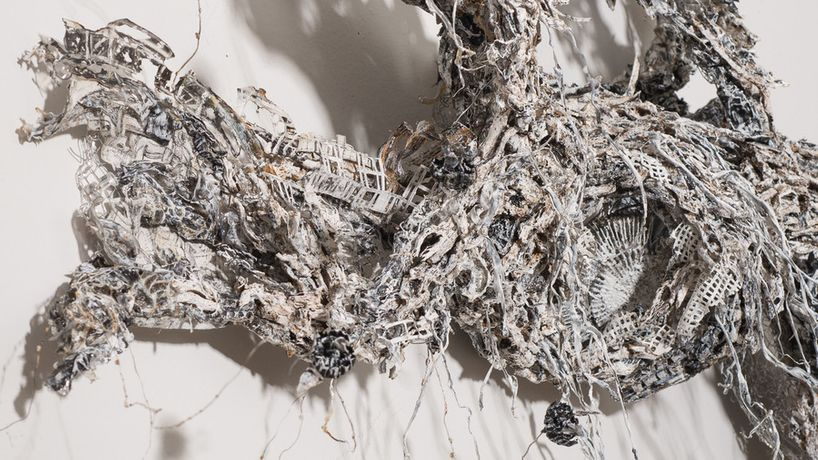 Dana Melamed, Path of Refraction (detail), 2015, film, cinefoil, paper, ink and acrylic on wire mesh, 30 x 42 x 7.5 inches (diptych)