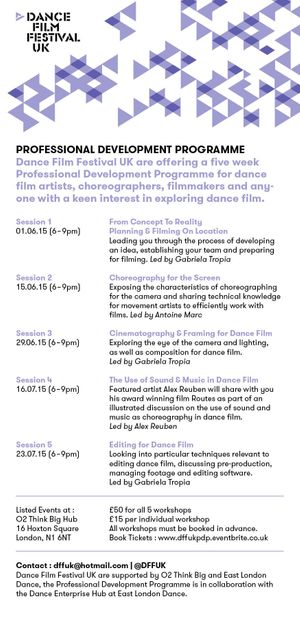 Dance Film Festival UK 2015 Professional Development Programme