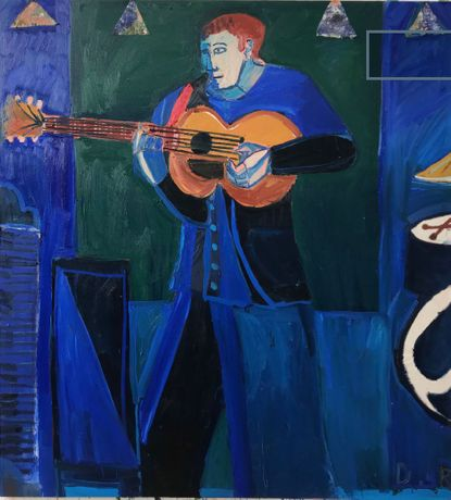 Big blue guitarist ,2019, oil and collage on canvas, 182 x 167 cms