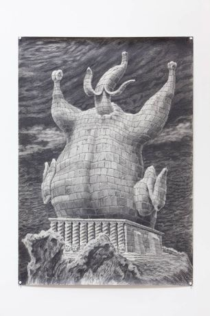Dionisis Kavallieratos, A ballad for chicken banana, 2010, Oil charcoal on paper, 100 x 70 cm , unique