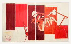 David Cyrus Smith, Red Cabinet (Remainder), 2017, ink on paper, 242 x 170 cm
