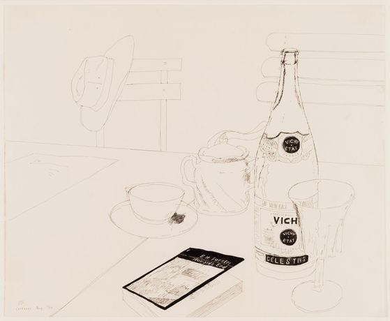 David Hockney Vichy Water and 'Howards End', Carennac, 1970 initialled, dated and inscribed 'DH. Carennac. Aug. 70' ink on paper 14 by 17 inches 35.6 by 43.2 cm