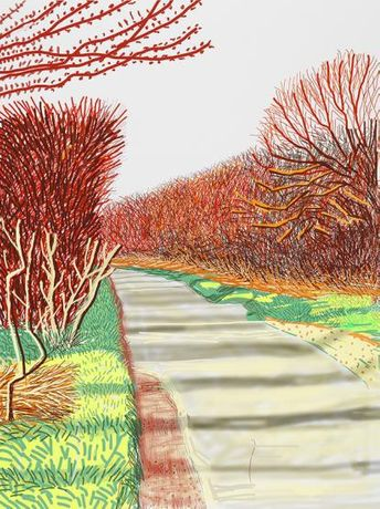 David Hockney The Arrival of Spring in Woldgate, iPad drawing printed on paper