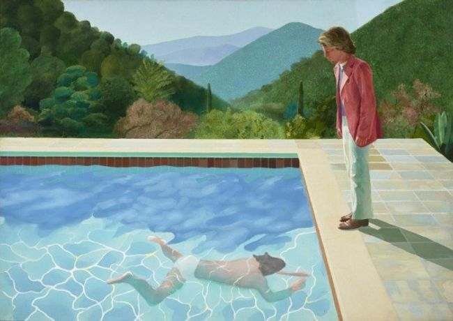David Hockney. A man watches another man swimming in a swimming pool with a hilly wooded scene in the background.
